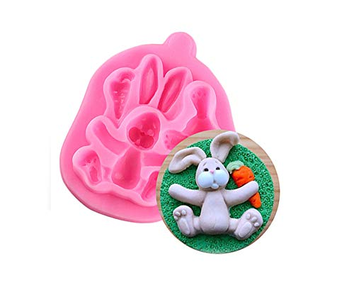 Eva Shop® Premium 3D Kaninchen Osterhase Bunny Silikonform Fondant Kuchen Formen Cupcake Resin Gießform Fondant Silikon Backform Kristallform Tischdekoration, Kinder Geburtstag, Osterdekoration usw.