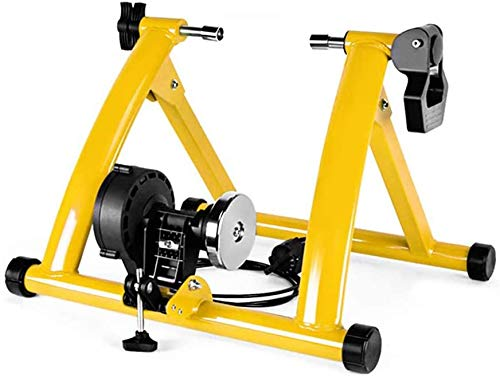 JLDN Bike Resistance Trainers, Bicycle Turbo Trainer w/ 6 Levels Resistance and Front Wheel Riser Block Indoor Bike Trainer Stand for Mountain & Road Bikes,Yellow