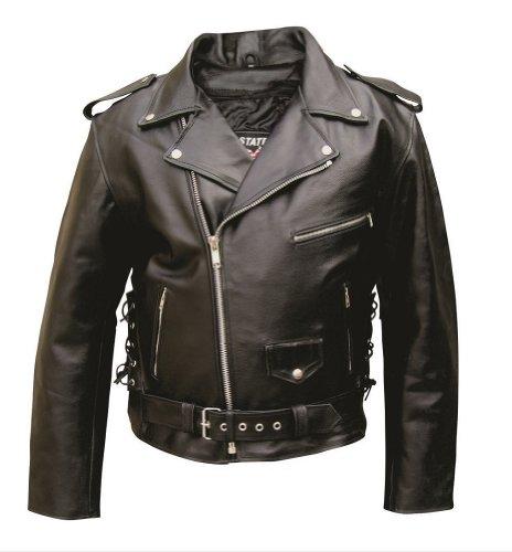 Allstate Leather Men's AL2011 Basic Motorcycle Jacket 42 Black