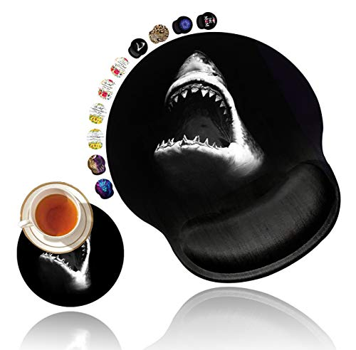 Ergonomic Mouse Pad with Gel Wrist Rest Support, Non Slip PU Base Mouse Pad Wrist Rest for Computer, Laptop, Home Office Gaming, Working, Pain Relief Fiercely Shark Customized Design + Cup Coaster