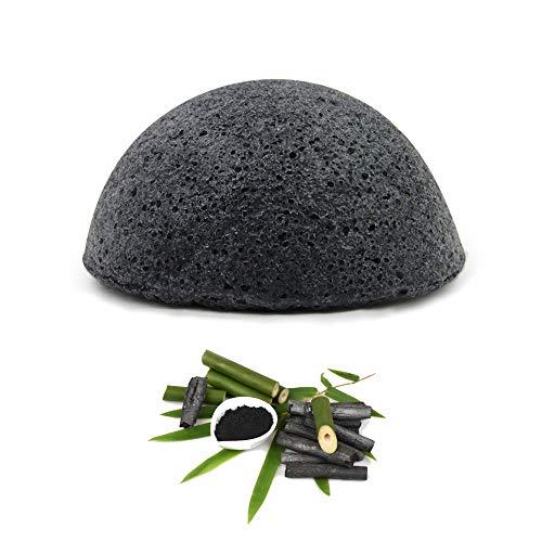 Esponja Konjac Exfoliante Suave Facial Natural, Orgánico, Bio, Ecológico, Vegano, Cuidado de la Piel, Limpieza Profunda, para Piel Propensa a Grasa y Acné - Carbón activado de bambú, pieles grasas