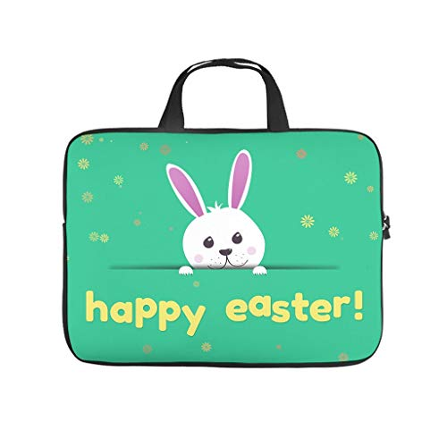Happy easter eggs Laptop bag Design Laptop Case Bag Colorful Wear-Resistant Computer Protective Bag with Portable Handle for Women Men white 13 zoll