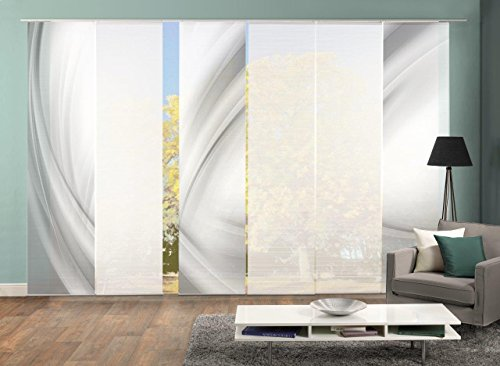 Vision S 96650 | 6er-Set Schiebegardinen UNO | halb-transparenter Stoff in Bambus-Optik | 6X 260x60 cm | Farbe: (grau)