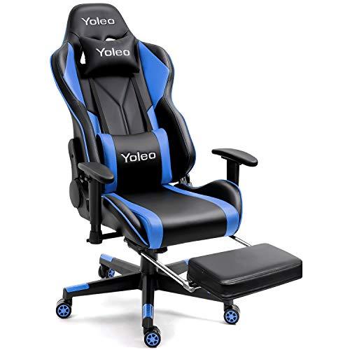 Gaming Stuhl Mit Fußpolstern - YOLEO Hohe Rückenlehne Gaming Stuhl Bürostuhl mit Lendenkissen Ergonomischer Gamer Stuhl Mit Fußpolstern Höhenverstellbarer Schreibtischstuhl