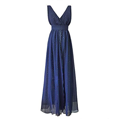 Sannysis Damen Abendkleid Elgant V-Ausschnitt Maxikleider Bodenlanges Kleid Rückenfrei Festliche Kleider Party Hochzeit Brautkleid Cocktail Ballkleid Sommerkleid (M, Blau)