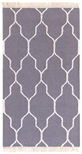 HAMID - Alfombra Kilim Umbra con Diseño Geométrico - 100% Lana - Alfombra Anudada a Mano - Alfombra de Pasillo, Salón, Dormitorio, Sala de Estar - Gris (80x150cm)