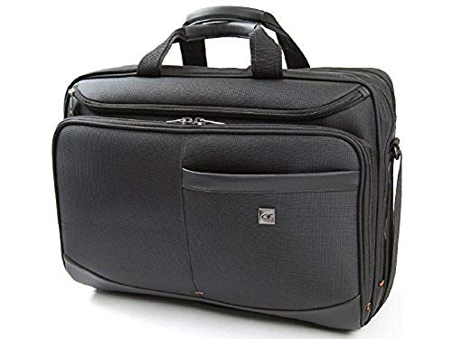 Large 17 inch Laptop Pilot Case - with Webbing Strap for Roller Bag Attachment by Gino Ferrari | Dual Padded Compartments for 17' Laptops & 14 Inch Tablets | Multiple Pockets | Metis GF1044