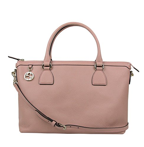 Gucci Women's GG Charm Soft Pink Leather Large Convertible Straight Bag With Strap 449650 5806