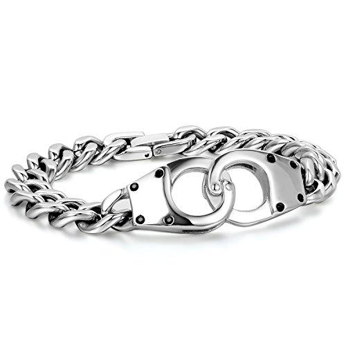 JewelryWe Schmuck Herren Edelstahl Handschellen Kettenarmband; Link Handgelenk Polished Armband; Silber