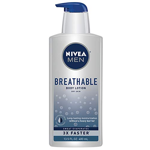 Nivea Men Breathable Body Lotion, Sweat Evaporates Faster, No Sticky Feel, Fresh Scent, Dry Skin, 13.5 Ounce
