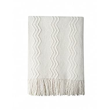 Bourina Throw Blanket Textured Solid Soft Sofa Couch Decorative Knitted Blanket, 50  x 60 ,Off White