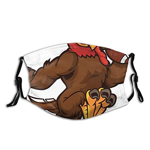 yanfind Sport Mascot Vector Confidence Running Athlete Attitude Brown Exercising Feather Illustration Livestock Muscu Dust Washable Reusable Filter and Reusable Mouth Warm Windproof Cotton Face