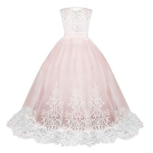 IZHH Kinder Kleider, Spitze Mädchen Prinzessin Brautjungfer Pageant Tutu Tüll Kleid Party Brautkleid 5T-13T Mädchen Spitze Blumenkleid Pettiskirt Princess Dress(Rosa,130)