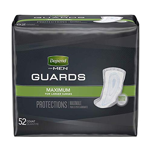Depend Incontinence Guards for Men, Maximum Absorbency, 52 Count (Packaging May Vary) (2 Pack(52 Count))