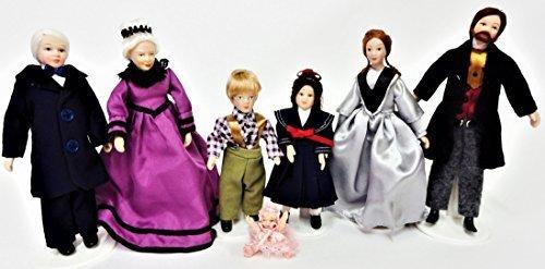 Melody Jane Casa delle Bambole Vittoriano Famiglia di 7 Persone Miniatura Porcellana Statuine