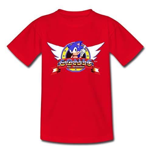 Spreadshirt Sonic The Hedgehog Logo Rétro T-Shirt Enfant, 7-8 Ans, Rouge