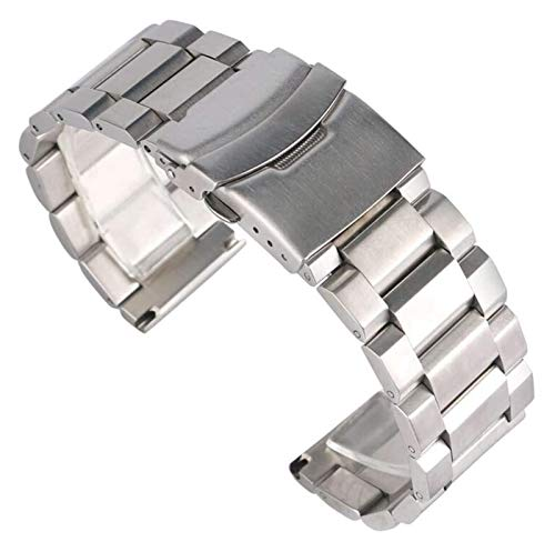 Beapet Watch Strap 18/20/22/24mm Silver Solid Link Watch Band Strap Stainless Steel Replacement Bracelet Adjustable Watchbands Bracelet (Size : 20mm)
