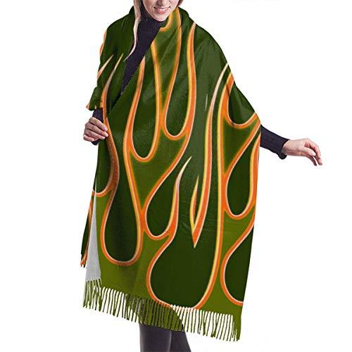 H.D. Winter Schal Damen Warm Baumwolle Flammen Pashmina Schals mit Quasten/Fransen