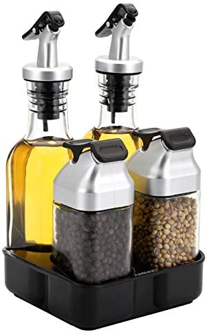 Jucoan Oil and Vinegar Dispenser Salt and Pepper Shaker Set with Stand 5 PCS Condiments Cruets product image