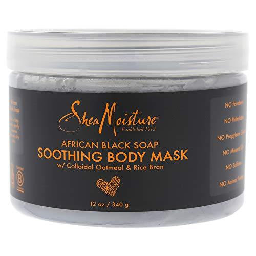 Shea Moisture Afrikaans zwart zeep rustgevend lichaamsmasker van Shea Moisture voor unisex – 340 ml masker, 340 ml