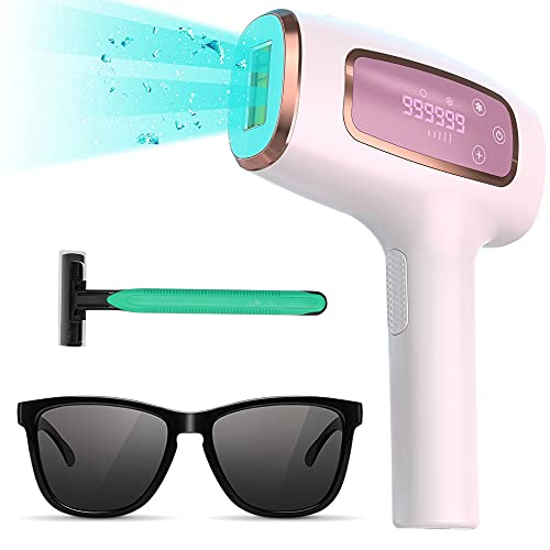 IPL Hair Removal Device with Ice Cooling System, 999,999 Flashes Laser Hair Removal, UV Filters, 2...