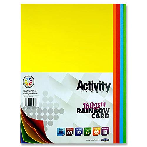Premier Stationery S4539819 A3 160 gsm Activity Card - Rainbow (Pack of 50 Sheets)