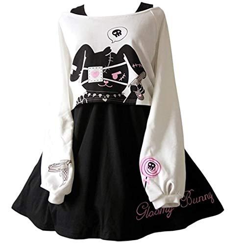 Kawaii Conejo Vestido Estampado 2 Piezas para niñas 2018 nuevos Vestidos (S)