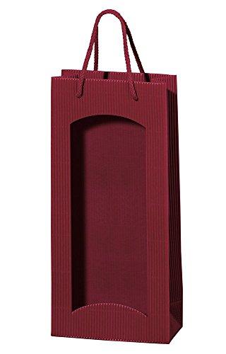 5 Stück/Set. Wein 2er Flaschenbeutel aus Wellpappe, Rot mit Sichtfenster