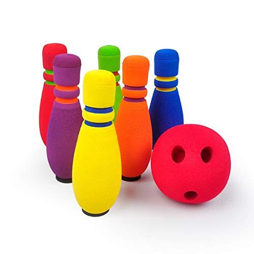 Juego De Bolos Divertido Bolos De Interior Suave Bolos De Entrenamiento En Interiores para Niños Entre Padres E Hijos Bolas De Bolos para Niños Fáciles De Almacenar (Color : 6 Bottles 2 Balls)