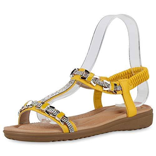 SCARPE VITA Damen Sandaletten Keilsandaletten Strass T-Strap Profilsohle Sommer Freizeitschuhe Bequeme Keilabsatz Schuhe 195490 Gelb 38