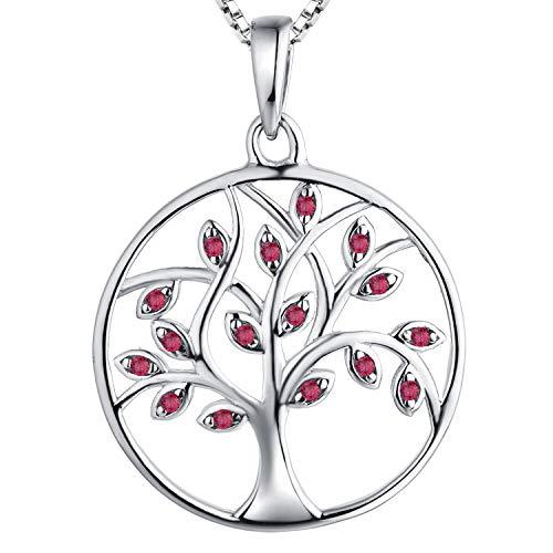 YL Collar Árbol de la Vida 925 Plata de Ley Rubí Joyería Para Mujer