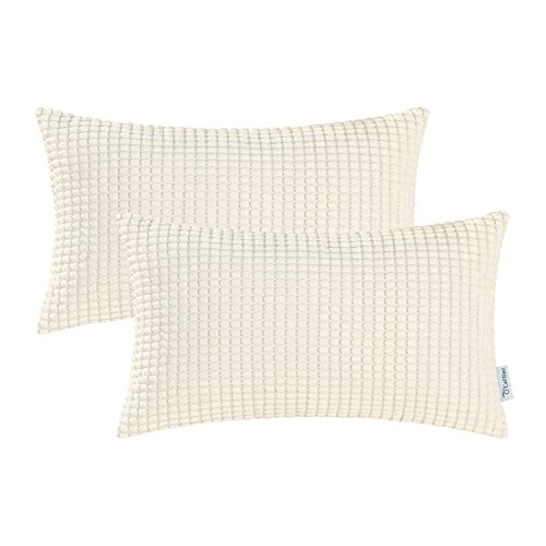CaliTime Pack of 2 Comfy Pillow Covers Cases for Couch Sofa Bed Decoration Comfortable Supersoft Corduroy Corn Striped Both Sides 12 X 20 Inches Cream