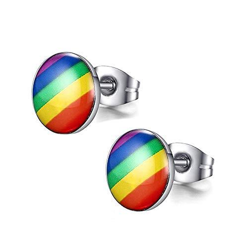 Stainless Steel Rainbow Striped Round Dot Stud Earrings for Men Women, Gay and Lesbian LGBT Pride Jewelry Earrings