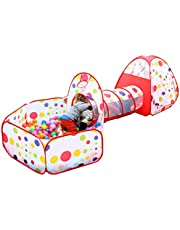 DACHUI Kids Play Tent with Tunnel and Ball Pit with Zippered Storage Bag, Children's Play Tents Playhouse for Baby Indoor Outdoor Playground (Red)