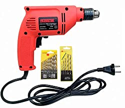 Cheston 10mm Powerful Drill Machine Screwdriver Reverse Forward Rotation with Variable Speed for Wall, Metal, Wood Drilling (5 Wall and 13 HSS BITS Included),Cheston,CHD6104RED.13HSS.5WALL