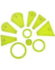 Plantilla para acolchar, juego de plantillas de placa Dresden, 10 reglas de retazos, regla de corte de patchwork para manualidades, herramienta de corte para acolchar