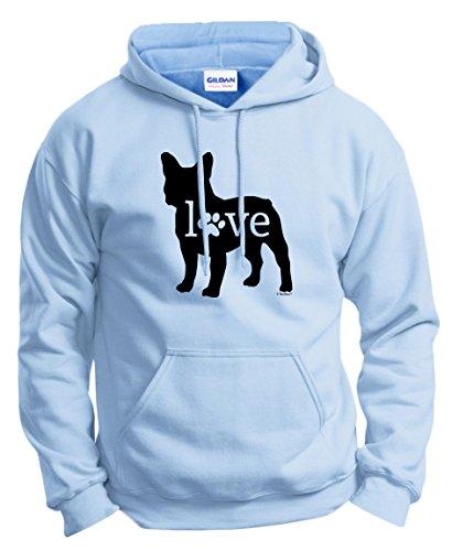 Dog Owner Gifts French Bulldog Love Dog Paw Prints Hoodie Sweatshirt 2XL LtBlu Light Blue