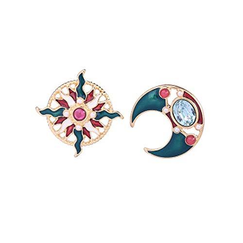 Finrezio 4 Pares Pendientes Bohemia Luna y Estrella Tierra Hueca Pendientes Asim/étricos Para Mujeres Ni/ñas Joyas De Aretes Largos y Colgantes De Cristal