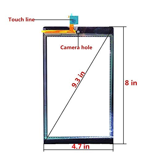 for Kindle Fire HD 8 7th Gen 2017 Release SX034QT Touch Screen Digitizer Repair Part Replacement with Adhesive, Screen Protector, NOT for HD 8 Kids 7th Generation (NO LCD & NO Instructions)