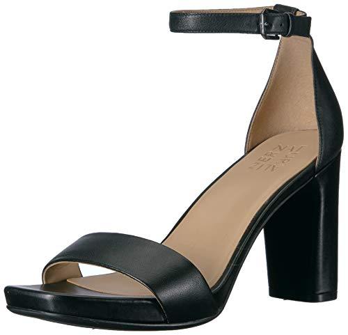 Naturalizer Women's Joy Heeled Sandal, Black Leather, 6 W US