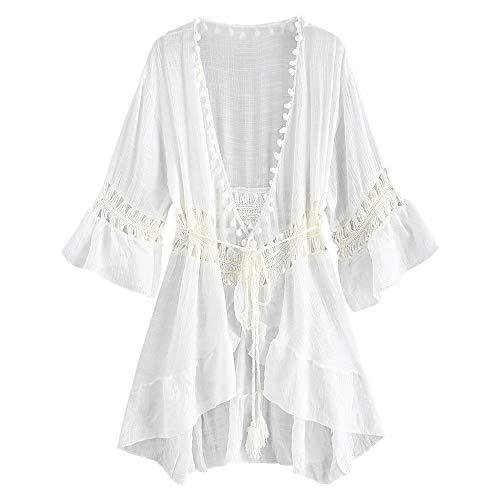 ZAFUL Damen Pom-Pom Crochet Panel Ruffle Smock Cover Up Kleid für Bikini Bademode(Weiss)