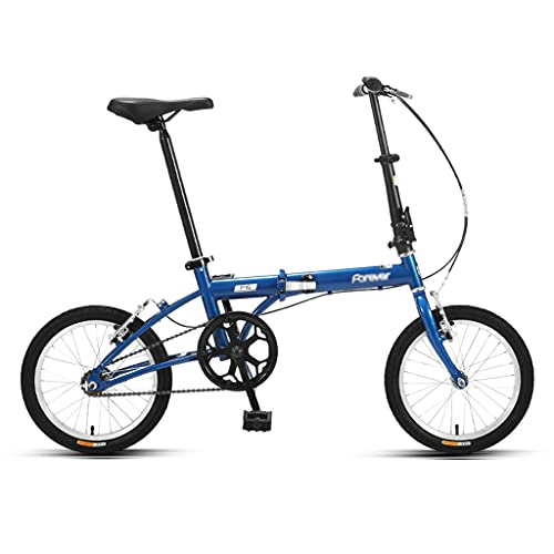 ZXQZ Bicicletas Plegables de 16 Pulgadas, Bicicletas Portátiles Ultraligeras para Hombres Y Mujeres, con Diseño de Reflector, para IR A La Escuela, Trabajar, Desplazarse (Color : Blue)