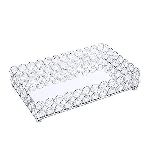 Chytii Bandeja decorativa de cristal para cosméticos con espejo, gran rectangular, para...