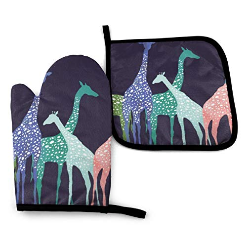 VGFJHNDF Colorful Giraffe Fans Lovers Oven Mitts and Pot Holders,Resistant Hot Pads with Polyester Non-Slip BBQ Gloves for Kitchen,Cooking,Baking,Grilling