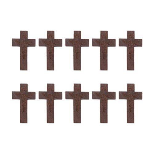 SUPVOX 50 Pieza Cruz de Madera Colgante Encantos para Collar Pulsera Fabricación de Joyas Rebanadas de Madera Decoración de Mesa