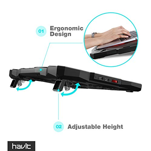 Product Image 4: havit 5 Fans Laptop Cooling Pad for 14-17 Inch Laptop, Cooler Pad with LED Light, Dual USB 2.0 Ports, Adjustable Mount Stand (Black)