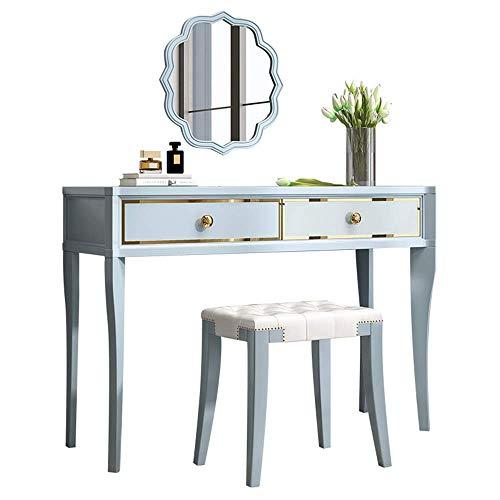 Equipo diario Juego de mesa de maquillaje Juego de mesa de escritorio de maquillaje Maquillaje de madera con taburete 2 cajones para niñas Juego de espejo cuadrado para dormitorio de mujeres (Tamañ