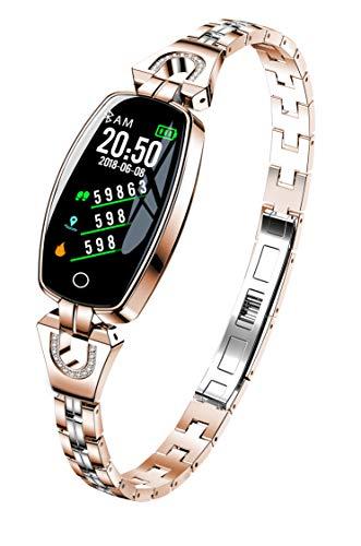 Hangang Smart-Armband, Fitness-Tracker für Damen, hervorragende Herzfrequenz, Blutdruckmessung, Sportarmband, 3 Farben (Gold)