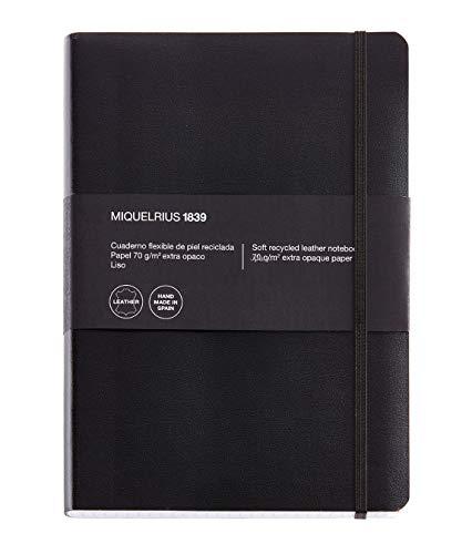 Miquelrius - Cuaderno flexible en piel, tamaño 4º, 300 hojas, cuadricula 5 mm, con goma, color negro