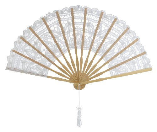 Luna Bazaar Cotton Lace Hand Fan (10-Inch, White) - in The Style of Chinese, Japanese, Spanish Fans - for Personal Use, Weddings, and Events